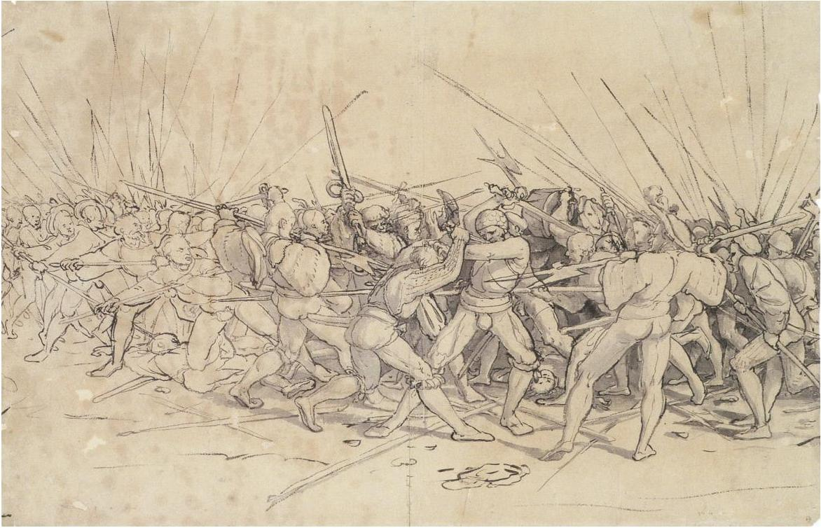 Painting of a Swiss battle scene by artist Hans Holbein Younger - Ганс Гольбейн Младший