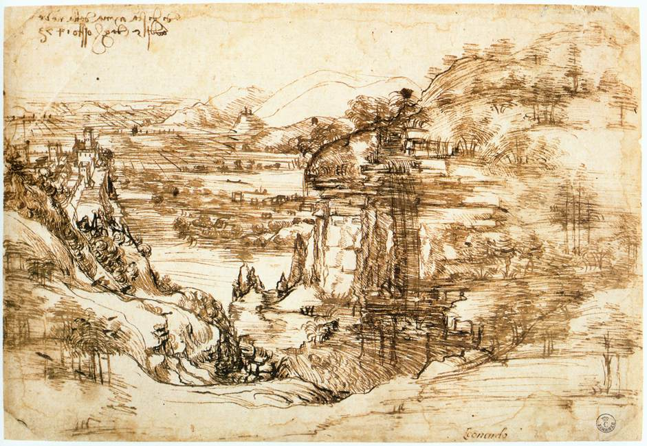 landscape drawing for santa maria della neve 1473 -  Леонардо да Винчи (Leonardo da Vinci)